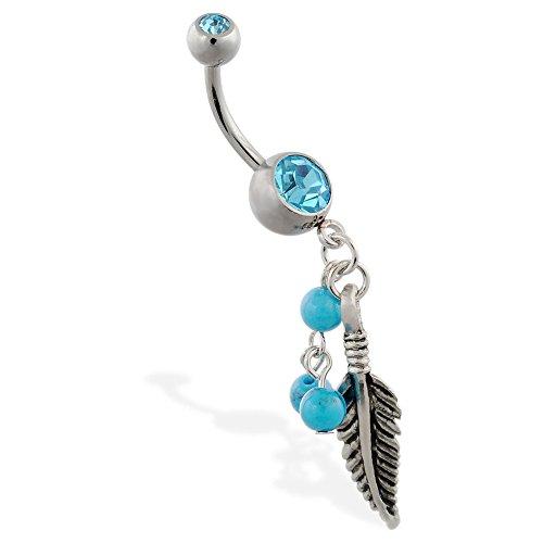 Mspiercing ombelico anello con pendenti piuma e turchese palline colorate, azzurro, colore: blue, cod. pr_sku_185493