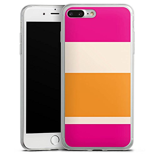 Apple iPhone 8 Plus Slim Case Silikon Hülle Schutzhülle Streifen Pink Orange Bunt Muster Silikon Slim Case transparent