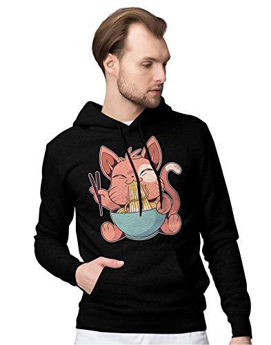 BLAK TEE Herren Cute Anime Cat Eating Ramen Kapuzenpullover M