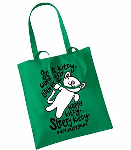 Soft Kitty (The Big Bang Theory) PRINTED ON TOTE BAG (KELLY GREEN)