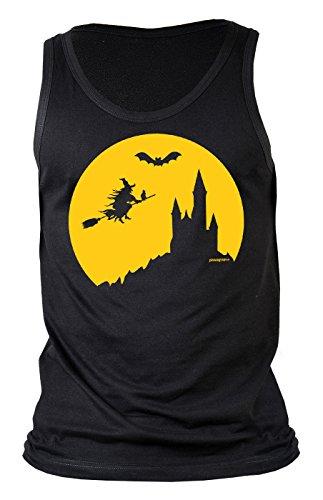 t - Coole Sprüche/Motive für Halloween : Halloween Hexe - Herren Trägershirt Hexe Fliegender Besen Gr: XL ()
