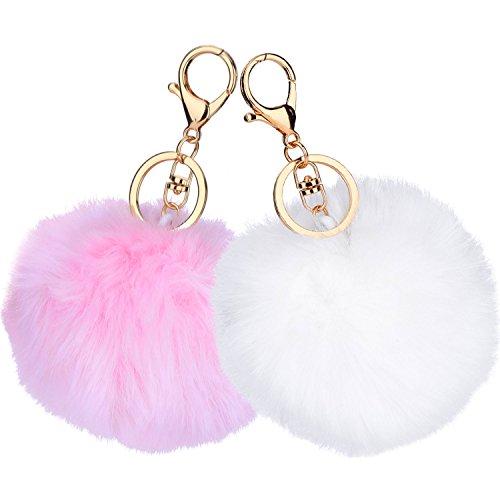 Pom Keychain Pom Weiße (2 Stück Pom Pom Schlüsselanhänger Flauschige Schlüsselanhänger Handy Charm Schlüsselanhänger Bälle Tasche Anhänger Schlüsselanhänger (Weiß und Rosa))