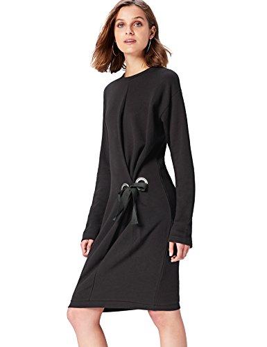 FIND Damen Kleid Eyelet Detail Sweat Midi, Schwarz, 40 (Herstellergröße: Medium)