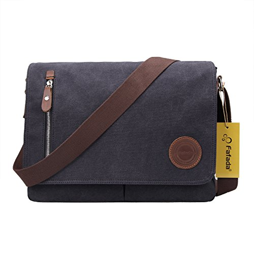 Fafada Mens/Womens Herren Canvas Freizeit Schultertasche Retro Umhängetasche Handtasche Schultasche Messenger Bag Typ2. Dunkelgrau