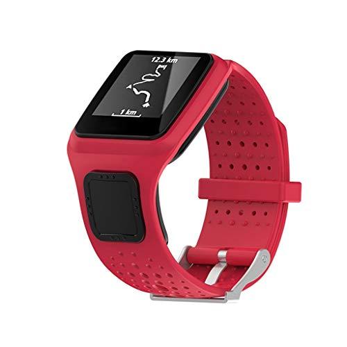 Huhu833 Sport Armband für Tomtom Multi-Sport, 22 MM Weiche Silikon Atmungsaktiv Uhrenarmband Schnellspanner Ersatzarmband Kompatibel für Tomtom Runner GPS Uhr (Rot) -