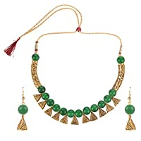 Jewel Pari Boho Indian Oxidized Faux Pearl Beaded Vintage Tribal Statement Choker Necklace Earrings Jewelry Set