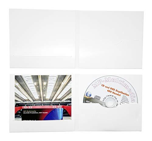 25 Digifile CD Hüllen aus Karton, CD Papphüllen weiß glänzend mit Schlitz für 1 CD/DVD/Blu-ray und Booklet/Cover Einleger, Made in Germany