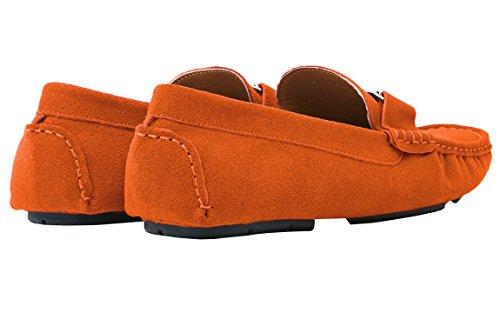Santimon Mocassins Homme Suède Cuir Plats Slip-on Loafers Loisirs Chaussures Argent Buckle Orange