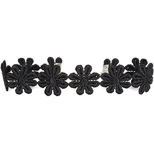 Twilight's Fancy Black Daisy Satiny Lace Trim Ribbon Choker Necklace -- Size Large by Twilight's Fancy Fancy Lace Trim