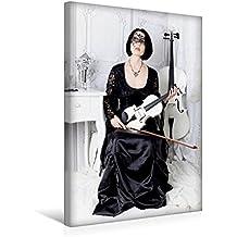 Premium Textil-Leinwand 30 cm x 45 cm hoch, Misterioso | Wandbild, Bild auf Keilrahmen, Fertigbild auf echter Leinwand, Leinwanddruck: Weiße Geige auf Reisen: Vor dem Maskenball (CALVENDO Kunst)