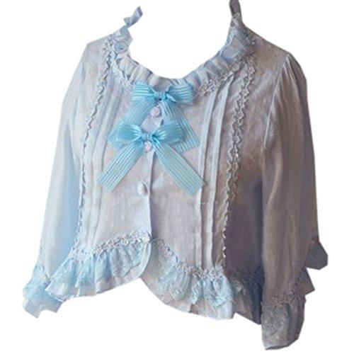 ische suesse Bluse Tops Cape Lolita Kleid Bowknots Cardigan, Chinese M, Hellblau (Cosplay Kostüme Zum Verkauf Frauen)