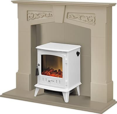 Adam Richmond Inglenook Stove Suite in Stone Effect with Aviemore Stove in Pure White, 48 Inch