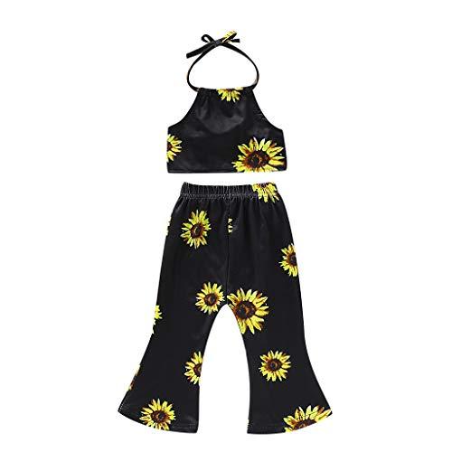 hen Sonnenblumen Druck Tops + Hosen Kleinkind Kinder Kleidung Sets, Kleidung Set Baby Mädchen Set Ärmellose Sunflower Sunsuit Weste Sommerkleidung Outfits Kleidung Set ()