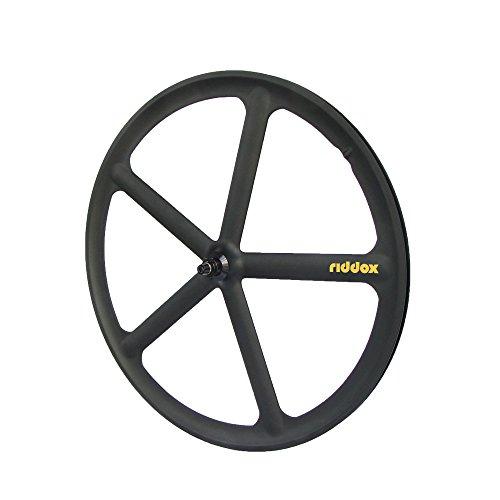 RIDDOX Laufradsatz Singlespeed Fixie 700C/28 Vorderrad - 5 Speichen - Leichtmetall - Schwarz Matt