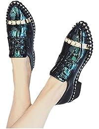 2017 nueva primavera zapatos bajas de un solo viento británico salvaje femenina para ayudar a los zapatos de perlas pequeños zapatos , green , 8