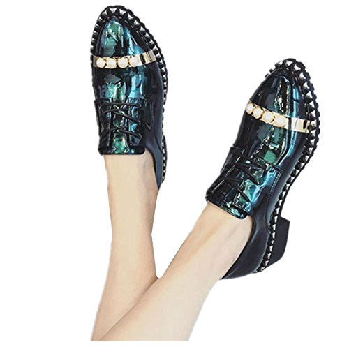 2017 singoli pattini della nuova molla selvaggia femmina basse vento britannico per aiutare le scarpe perla piccoli scarpe Green