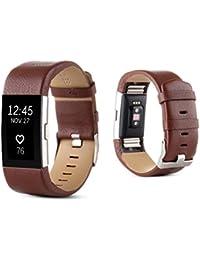Malloom Deportes PU cuero reloj banda correa para Fitbit Charge 2 (Marrón)