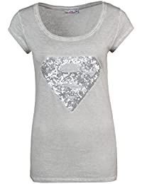 SUBLEVEL Supergirl T-Shirt | Damen Basic Shirt mit Superman Logo aus Pailletten | Logo Print