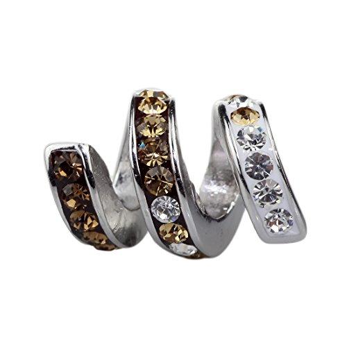 Beads Hunter Charm en émail et cristal autrichien Design Serpent en argent sterling 925pour bracelet Pandora style et similaires 3mm champagne