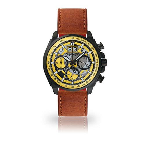 DETOMASO LIVELLO Men's Wristwatch Chronograph Analogue Quartz Brown Leather Strap Yellow dial DT2060-A-828