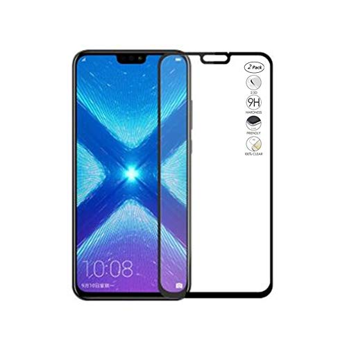 HERCN (2 Pack) Huawei Honor 8X 6.50 Displayschutzfolie, Full Coverage Vollkleber 2.5D 9H Härte Gehärtetem Glas Tempered Displayschutz Screen Protector für Huawei Honor 8X Smartphone (Schwarz)