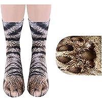 Ndier Patrón 1 Pareja Creativa impresión 3D Patas de Animal Calcetines Unisex Humor Infantil de algodón Calcetines del Gato