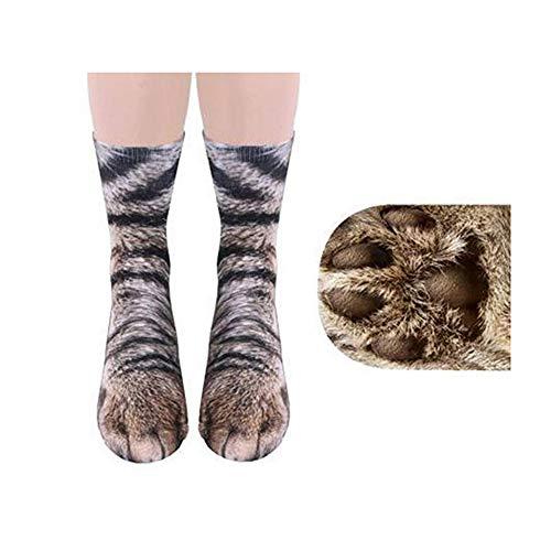 1 pares de calcetines creativos del patrón de la pata del animal de la impresión 3D, diversión de los niños, calcetines del algodón, calcetines y gatos.