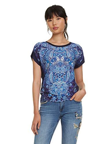 Desigual Damen Short Sleeve NAVAJOS Woman Blue T-Shirt, Blau (Navy 5000), X-Large