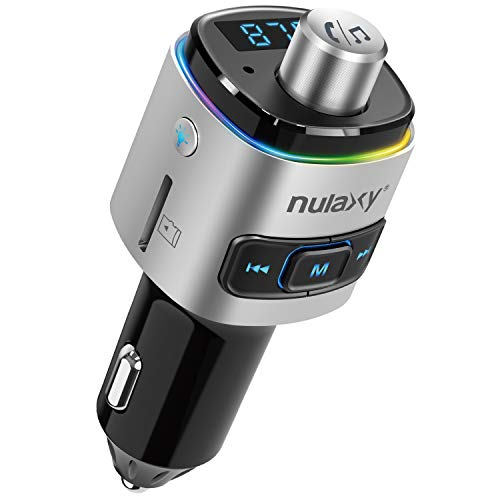 Auto FM Transmitter, NULAXY Bluetooth QC3.0 FM Transmitter Adapter mit 7 Farbe LED Backlit, unterstützt Siri Google Assistent USB Drive TF Karte Handsfrei Sprechen