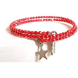 Armband gewickelt zierlich, filigran 3mm Glasperlen Coralle Rot auf Memorywire mit Anhänger Stern