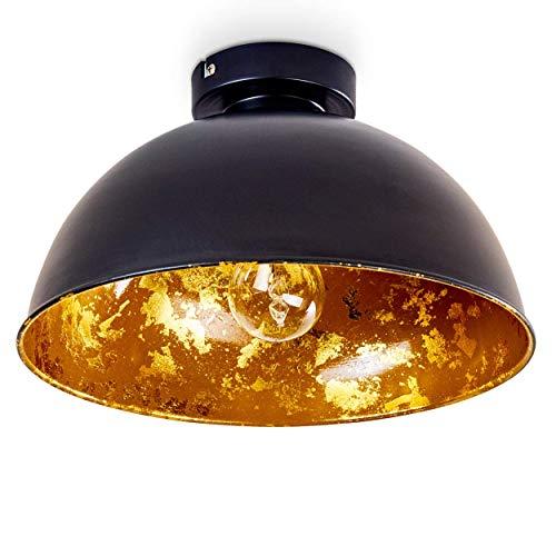 Deckenleuchte Nome, moderne Deckenlampe aus Metall in Schwarz/Gold, E27-Fassung, max. 60 Watt, Spot im Retro/Vintage-Design mit Blattgoldoptik, LED Leuchtmittel geeignet -