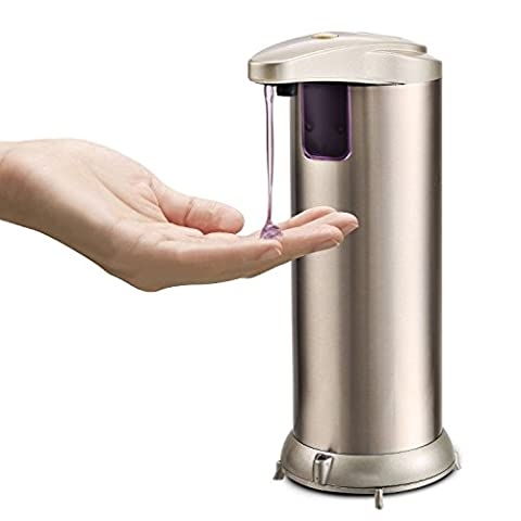 Automatic Soap Dispenser, Fingerprint Resistant Brushed Stainless Steel IR Infrared Motion Sensor Automatic Waterproof Base Dish Soap Dispenser For Kitchen And Bathroom