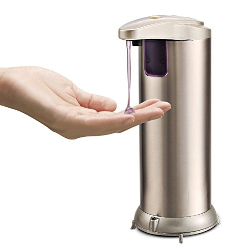 Automatic Soap Dispenser, Fingerprint Resistant Brushed Stainless Steel IR Infrared Motion Sensor Automatic Waterproof Base Dish Soap Dispenser For Kitchen And Bathroom (Champagne)