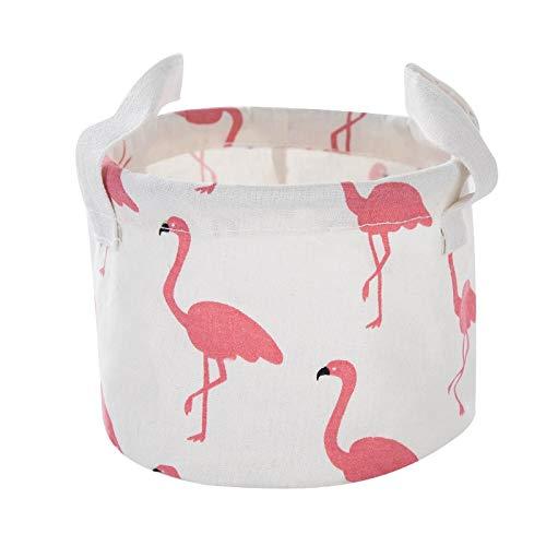 GMACY Desktop Storage Basket Cute Printing Waterproof Organizer Cotton Linen Sundries Storage Box Cabinet Underwear Storage Bag Beige Ostrich R -