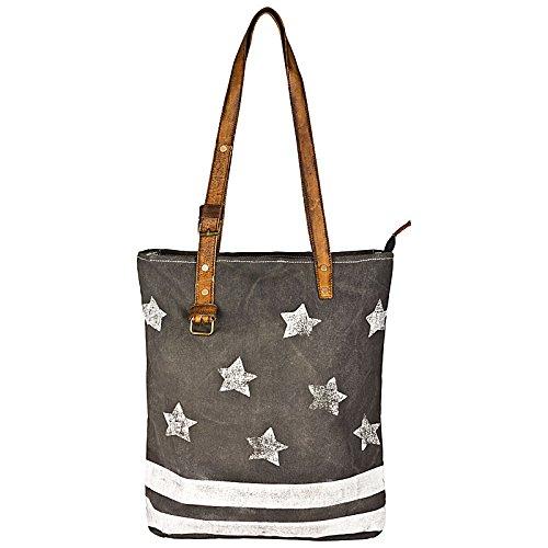 Colmore Élégant sac/Shopper en toile et cuir dans look shabby/vintage avec étoiles