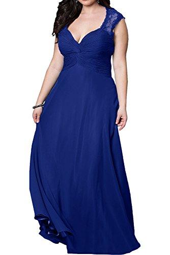 La_mia Braut Lila Uebergroesse Chiffon Brautmutterkleider Partykleider Abendkleider Schmaler Schnitt Rock Royal Blau