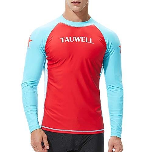 Herren Surf Bekleidung Wasserski T-Shirt mit Langen Ärmeln leicht zu trocknen, wasserdicht Surf Top Sport Strumpfhose 4 Farben(rot, M)