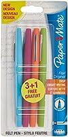 Paper Mate S0936130 Flair Keçe Uçlu Tükenmez Kalemler, Orta Kalınlıkta Uç, Çeşitli Hoş Renkler, 3+1'Li Paket