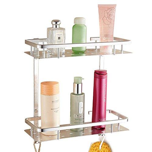 YUZHIWUX Badezimmer Regal Handtuchhalter Handtuchring Raum Aluminium Badezimmer Hardware-Regal Doppel Storage Rack Küche Eckablage Finishing-Wand -