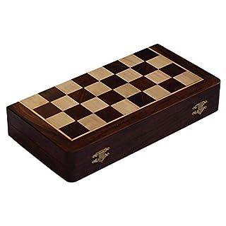 AB hadicrafts 10x10 Zoll -Schach-Set - Magnetic Folding Chess Game - Edelholz -klassische handgemachte Standard- Staunton ultimative Turnier Palisander Schachbrett