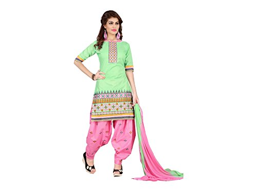 Designer Green Cotton Embroidered patiala Suit