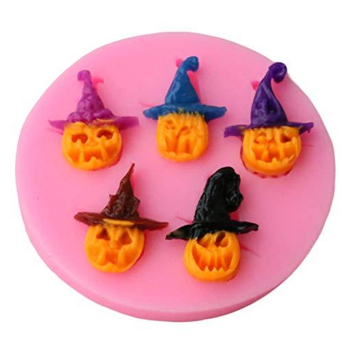 GOMYIE Halloween Silikon Backformen Scary Pirate Kürbis Backformen Candy Cupcake Cookie Formen (Pink)