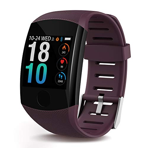 PolywellSmartWatch, Health & Fitness Tracker Smartwatch Heart Rate Monitor Blood Pressure Activity Watch,Sleep Monitor Pedometer Calls SMS Notification Remote Camera Music for iOS Android (Wine red)