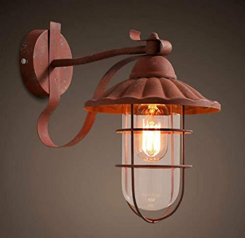 Shabby Rustic Wall Lamp Vintage-Stil Loft Wandleuchten Rust Design Lampenkörper Glasschirm,Weinrot,A -