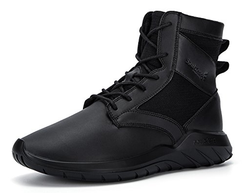4791fea6747a Mens Womens Unisex Ankle Boots Lace Up Cushioning Black Leather Winter Snow  Shoes (8 UK