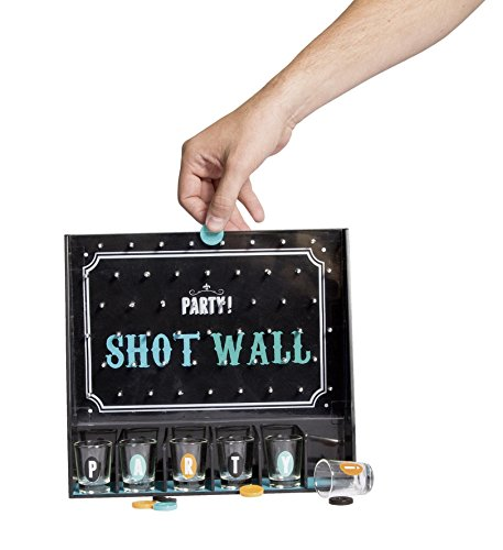Glas-chip (Party Shot-Wall Trinkspiel Partygame inkl. Chips und 6 Shooter Gläser)