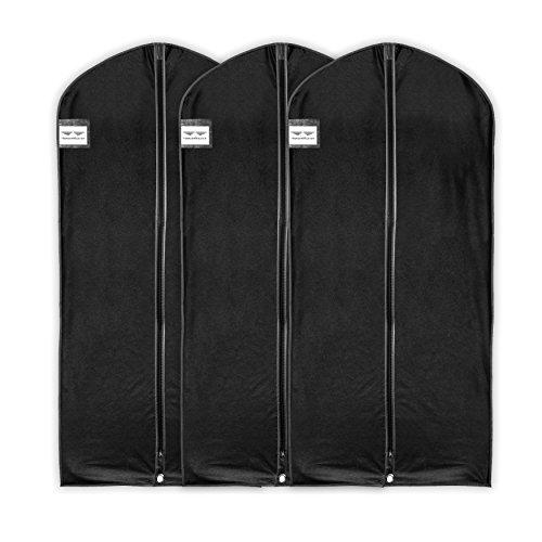 HangerMaster Kleidersack für Kleid/Mantel,atmungsaktive Schutzhülle und Tasche, 137cm,Schwarz,3Stück schwarz