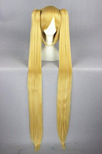 uf UK 100cm blond Farbe lange gerade Dual Schachtelhalm Lolita Stil Cosplay Perücken für Miku VOCALOID und Halloween Perücken (Halloween Miku)