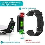 HETP Fitness Armband mit Pulsmesser Fitness Tracker Uhr Wasserdicht IP67 Blutdruckmesser Schrittzähler Uhr Stoppuhr Sport Aktivitätstracker Anruf SMS für Kinder Damen Männer - 7