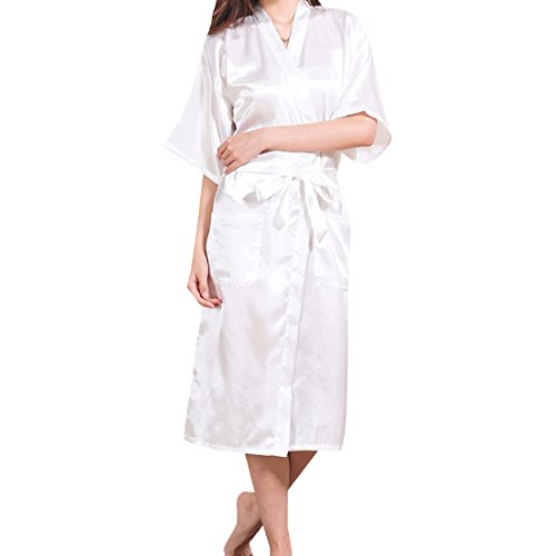 Sidiou Group Camisón Bata de satén Vestido Kimono Largo Mujer Pijamas Ropa de Dormir Albornoz (L, Blanco)